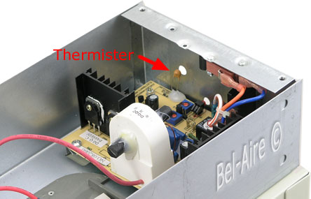 Thermister air flow sensor location